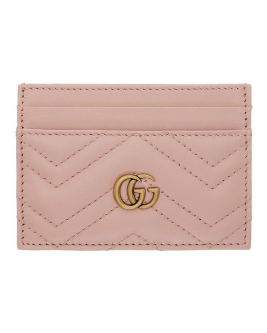 06738f8d56d0 Gucci Pink GG Marmont 2.0 Card Holder in Pink - Lyst