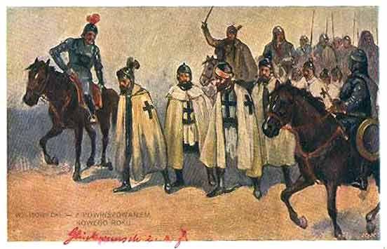 Kartka noworoczna z 1911 r. z motywem nawiązującym do bitwy pod Grunwaldem
