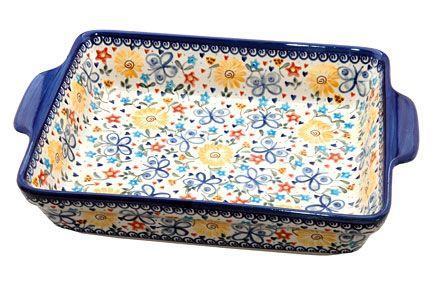 Blue Rose Polish Pottery: Butterfly Baker w/ Handles