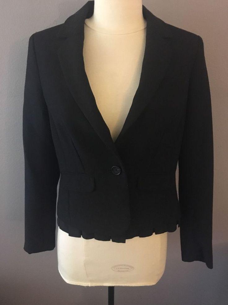 Ann Taylor Loft Women's Blazer Jacket Lined  Ruffle Bottom 2 Petite #AnnTaylorLOFT #Blazer