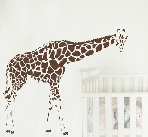 Giraffe wall sticker - this guy will keep an eye on the kids! https://www.moonfacestudio.com.au/product-page/giraffe-with-bent-neck-vinyl-wall-sticker-decal