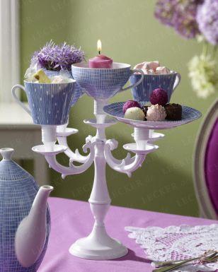 Beautiful tea and cake stands (Kerzenleuchter zur Etagere umfunktionieren)