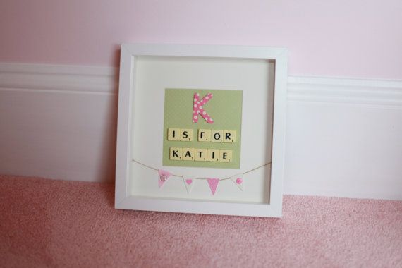 Beautiful Personalised Scrabble Picture. The Perfect Baby Gift