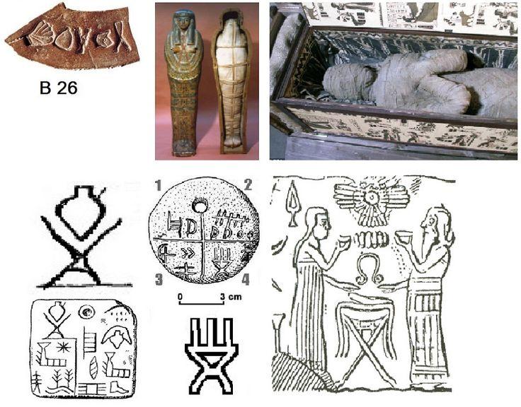 В1, 5 знаков: Полный мешок = Обильно, много, полнота. Саркофаг (гроб) = Мощи, символ веры. = Вера, заветы предков. Жертвенник = Жертвенный очаг. Точки в круге = Соединять, объединять. Голова = Ной. В1: Многая (полная) вера (исполнение заветов) и принесение жертв (служение Богу) соединял (обретал, имел) Ной.