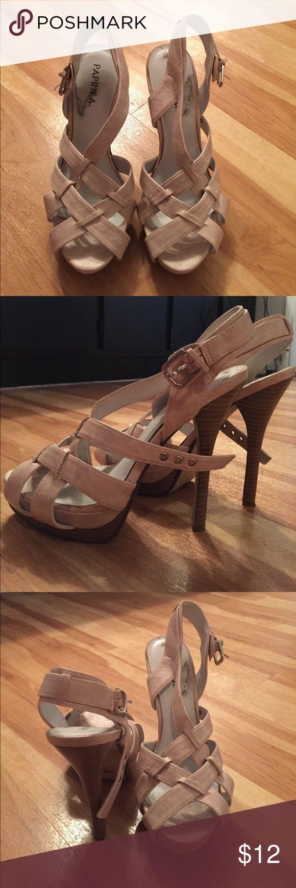 Beige heels Beige strappy heels with buckle Paprika Shoes Heels