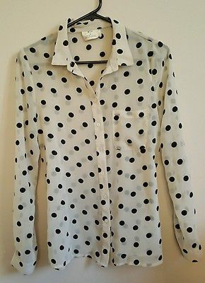 Pins and Needles urban outfitters sheer polka dot longsleeve button blouse small