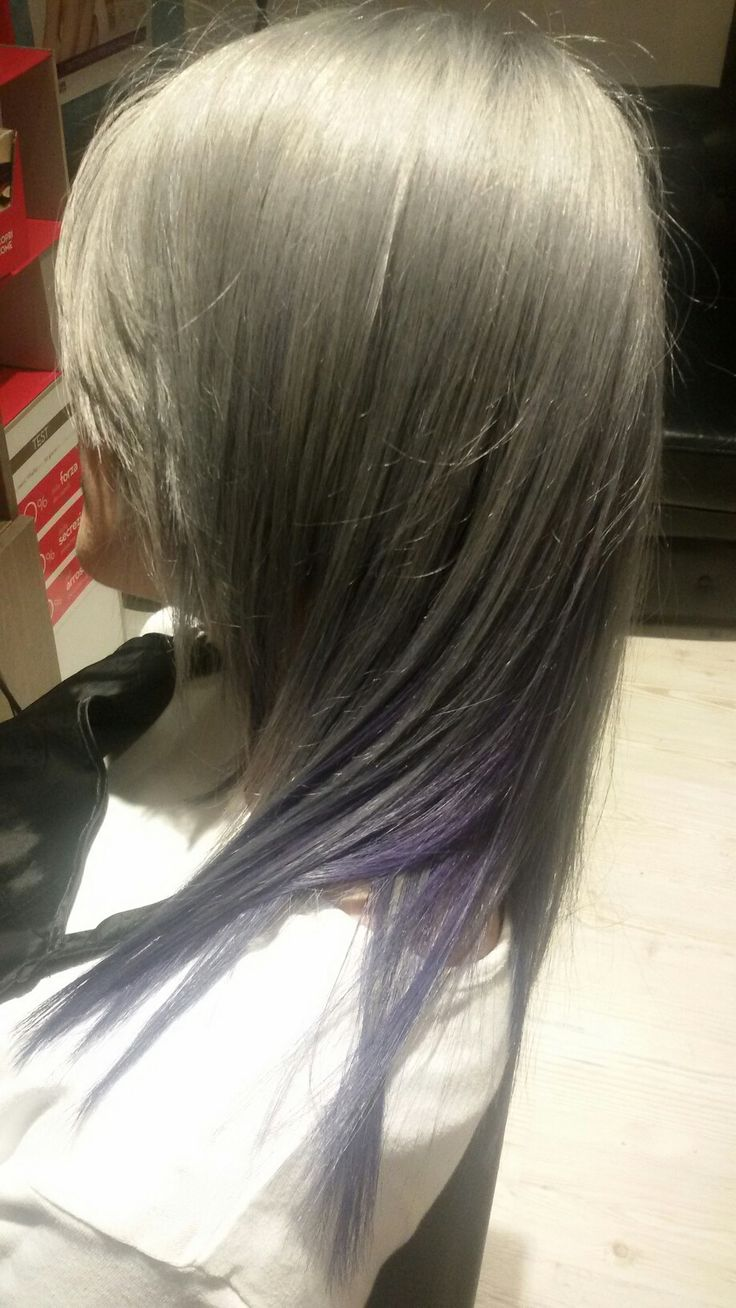 Grey and violet hair
