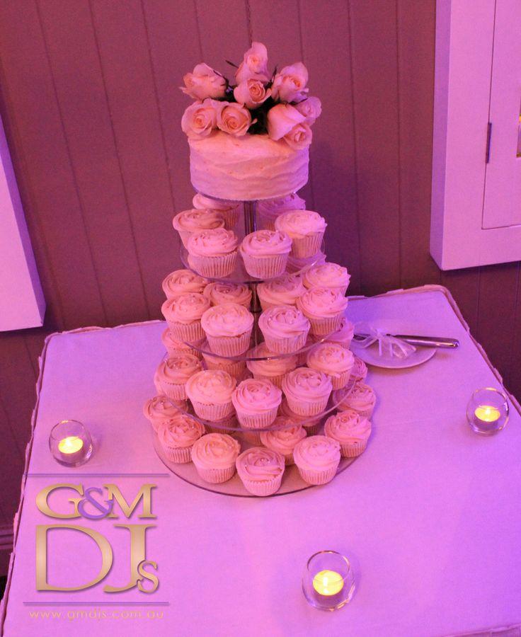 Rose cupcake wedding cake at Brisbane Golf Club | G&M DJs | Magnifique Weddings #gmdjs #magnifiqueweddings @gmdjs #brisbanegolfclub