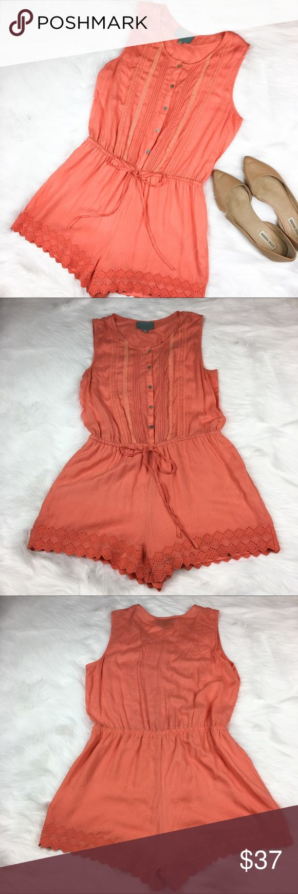 Stitch Fix Skies Are Blue Orange Romper Stitch Fix brand Skies Are Blue orange romper. Size medium. Approximate measurements flat laid are 31' long, 2' inseam, 14' drawstring waist (can be let in and out measurement take slightly pulled and tied) and 18' bust. GUC with no major flaws. Beautiful eyelet detail along bottom and lined bottoms. ❌No trades ❌ Modeling ❌No PayPal or off Posh transactions ❤️ I 💕Bundles ❤️Reasonable Offers PLEASE ❤️ Skies Are Blue Shorts
