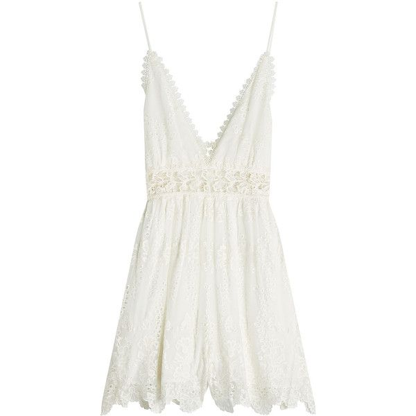 Zimmermann Embroidered Silk Playsuit ($530) ❤ liked on Polyvore featuring jumpsuits, rompers, white, zimmermann romper, silk rompers, zimmermann, white romper and white rompers