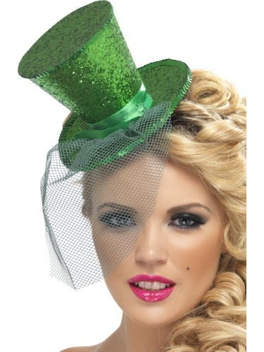 Green Mini Top Hat On Headband Ladies Fancy Dress Hen Party Costume Accessory (21296) | Costume Hats Tiaras and Boppers | Topper Hats