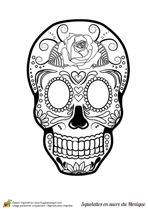 Un squelette en sucre mexicain ornée d'une rose à colorier.
