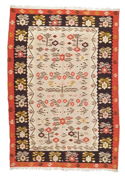 Origin:Romania  Weaving Type:Kilims  Width:6'8'' (203 cm)  Length:9'6'' (290 cm)  Weight:17.6 lbs (8 kg)  Weft:Wool  Warp:Cotton  ID:K0005286  Price:$1,700.00 (approx. €1,321)  Description:    Vintage Romanian Kilim around 40 years old and in good condition. The restoration fee is included in the price.  sales1@kilim.com