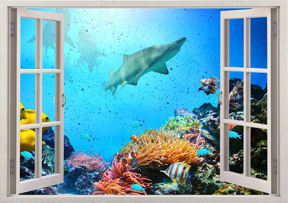 Underwater shark wall sticker Coral reef 3D window, sea wall decal for home decor, colorful sharks wall art nursery kids decoration [005]