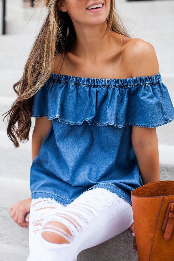 #summer #fashion #outfitideas | Chambray Ruffle Off The Shoulder Top