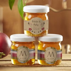 Personalized Fall Design Clover Honey Jar Favors (Set of 12) (Kate Aspen 19018NA) | Buy at Wedding Favors Unlimited (http://www.weddingfavorsunlimited.com/personalized_fall_design_clover_honey_jar_favors_set_of_12.html).