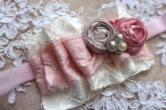 Shabby Baby Girl Headband Newborn Photo Prop by AldonasBoutique,