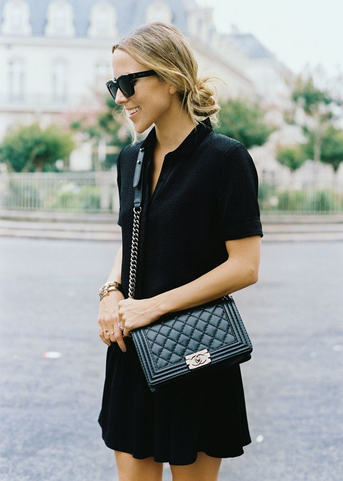 Black Dress Chanel Boy Bag Style Pinterest Chanel Boy Bags And Boys
