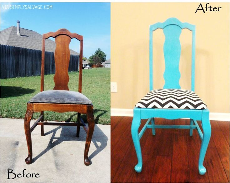 Turquoise chair before & after. Love this!!