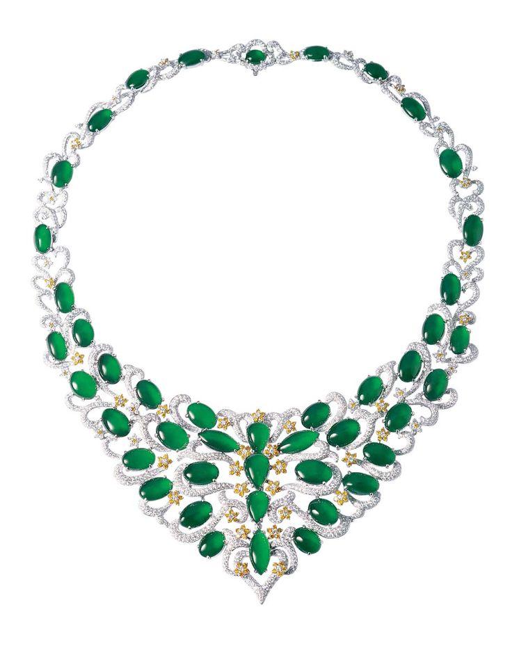 Zhaoyi bib necklace, set with precious, smooth glossy green jade cabochons and diamonds.