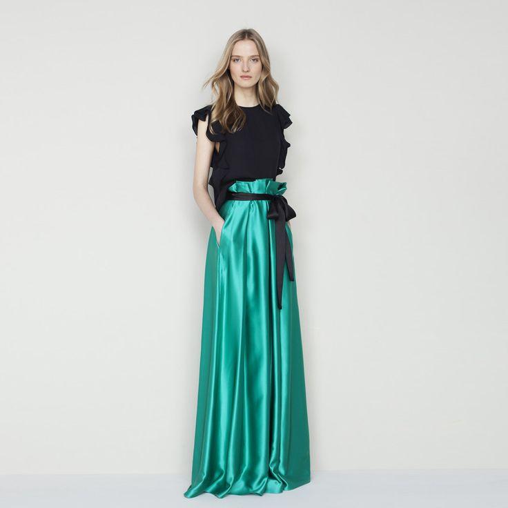 Wysokiej Klasy 2017 Custom Made Długi Tafta Długie Spódnice Z kieszenie Bow Sash Prosto Piętro Długość Maxi Spódnica Dla Kobiet jesień(China (Mainland))