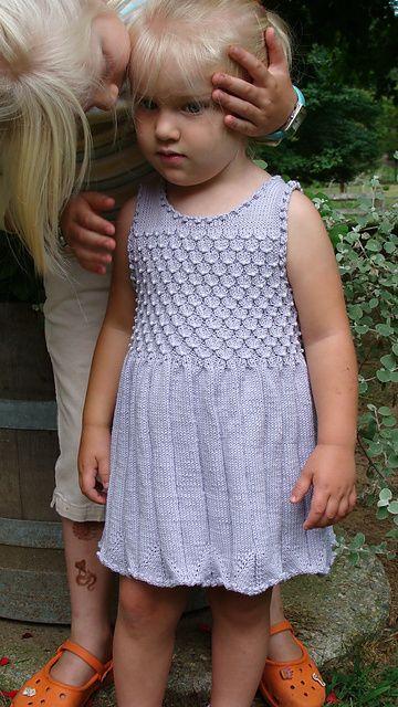 Free knitting pattern for child's dress Lilah pattern by Mavis Adam