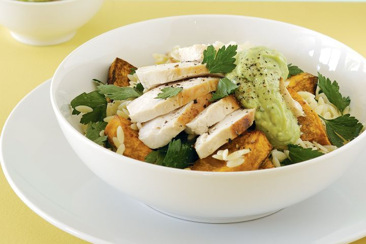 Chargrilled chicken with risoni salad and avocado