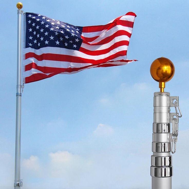 25 ft Flag Pole Kit Telescopic Aluminum Flagpole 3'x5' US Flag Ball Fly 2 Flags #Yescom