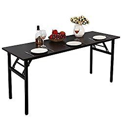 Need Computer Desk Office Desk 63″ Folding Table with BIFMA Certification Computer Table Dining Table No Install Needed, Black