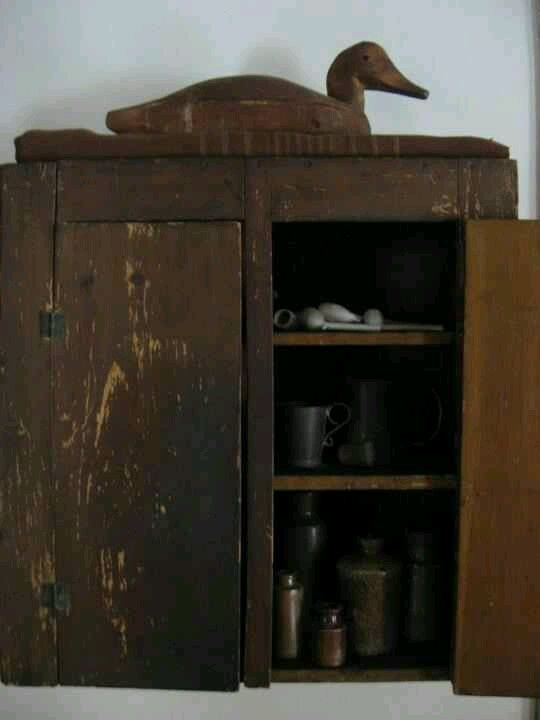 Antique Wood Cupboard with Duck Decoy on top - Great! - 306 Best Antiques Images On Pinterest Primitive Decor, Antique