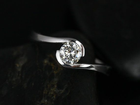 Petite Vadim 14kt White Gold Round FB Moissanite Single Twist Engagement Ring (Other Metals and Stone Options Available)