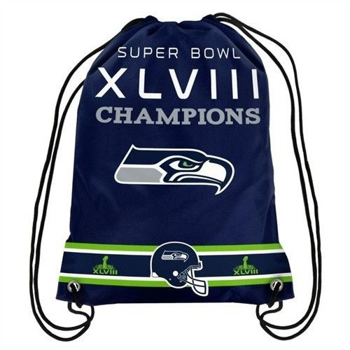 Seattle Seahawks NFL Team Logo Super Bowl Commerative Drawstring Backpack