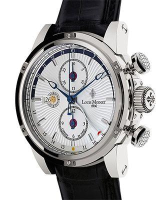 LM-24.10.60 Louis Moinet часы Geograph Steel case Silver Dial - швейцарские мужские часы наручные, белые, черные