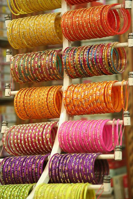 Glass Bangles, very beautiful and fragile. Love to mix and match a whole armload of these. Married women wear bangles on both arms. Some people groups wear plastic bangles all the way up to their shoulders.