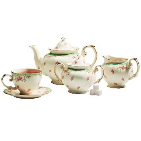 Green Vintage Rose Tea Set