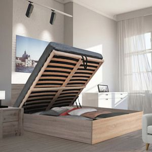 Lit coffre en hêtre avec tête de lit et sommier à latte multiplis CADIX Blanc, 140x190cm