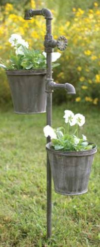 Faucet Garden Art with Two Planters