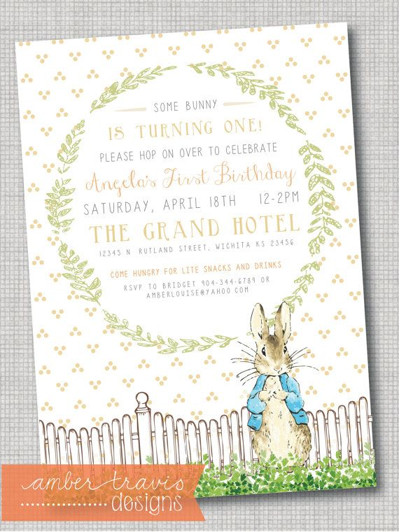 Peter Rabbit Invitation First Birthday by AmberTravisDesigns