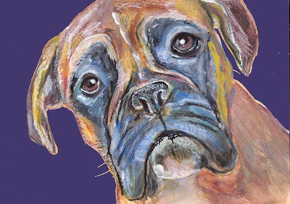 Boxer Dog Painting, Print of Original Art 21 x 29.7cm Purple Background #boxerdog boxerdogart boxer dog gift #boxer