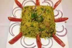 Our Special - Dum Biryani!  Dum Biryani can be made in Goat, lamb, chicken, prawns & vegetables.