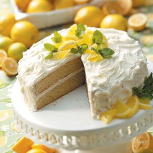 Lemonade Layer Cake ~T~ Uses Lemonade concentrate in batter and frosting for a punch of lemon flavor.