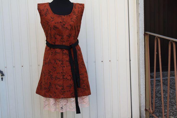 Trägerkleider - Kleid mit Unterrock Leinen braun schwarz Spitze - ein Designerstück von trixies-zauberhafte-Welten bei DaWanda