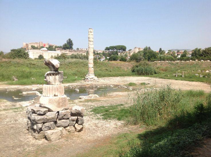 The remaining column of The Temple of Artemis, Seljuk, Turkey.