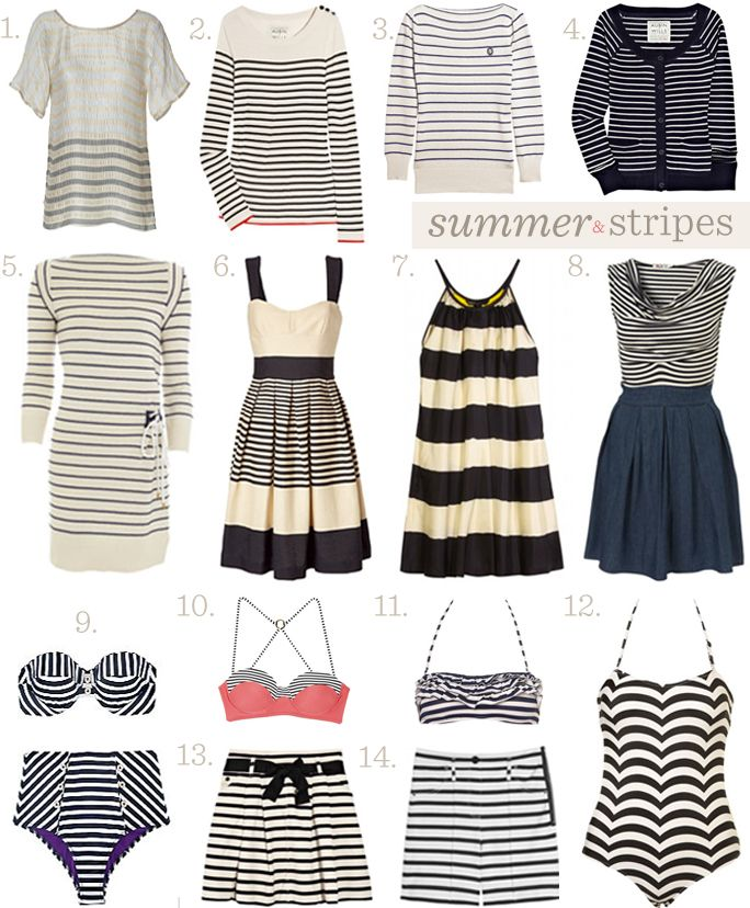 summer stripes 1. L'Agence top 2. Aubin & Willis sweater 3. Marc by Marc Jacobs sweater 4. Aubin & Willis sweater 5. Marc Jacobs dress 6. Tara Jarmon dress 7. Marc by Marc Jacobs silk dress 8. Topshop dress 9. Diane von Furstenberg Maryelle Bikini 10. Rosa Cha bikini top 11. Topshop bikini top 12. Topshop swimsuit 13. Sonia Rykiel skirt 14. Sonia Rykiel shortsBikinis Tops, Topshop Bikinis, Silk Dresses, Bikini Tops, Topshop Dresses, Marc Jacobs, Summer Stripes, Diane Von Furstenberg, Dresses 2Nd