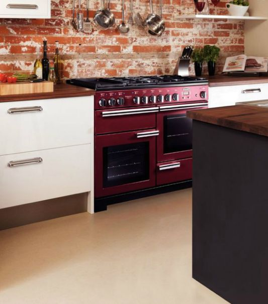 Rangemaster Professional Plus 110 range cooker in cranberry red.