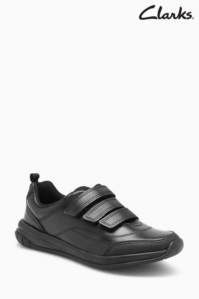 shop fast delivery retail prices Boys Clarks Kids Black Leather Hula Thrill Triple Velcro ...