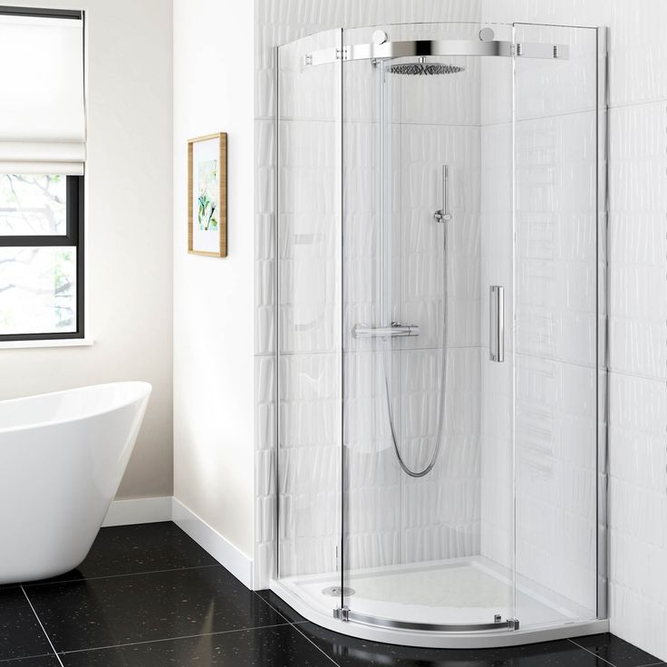 Freestanding bath, dark floor tiles and corner shower :: Shower Enclosures UK | Shower Cubicles | Shower Enclosure - BathEmpire