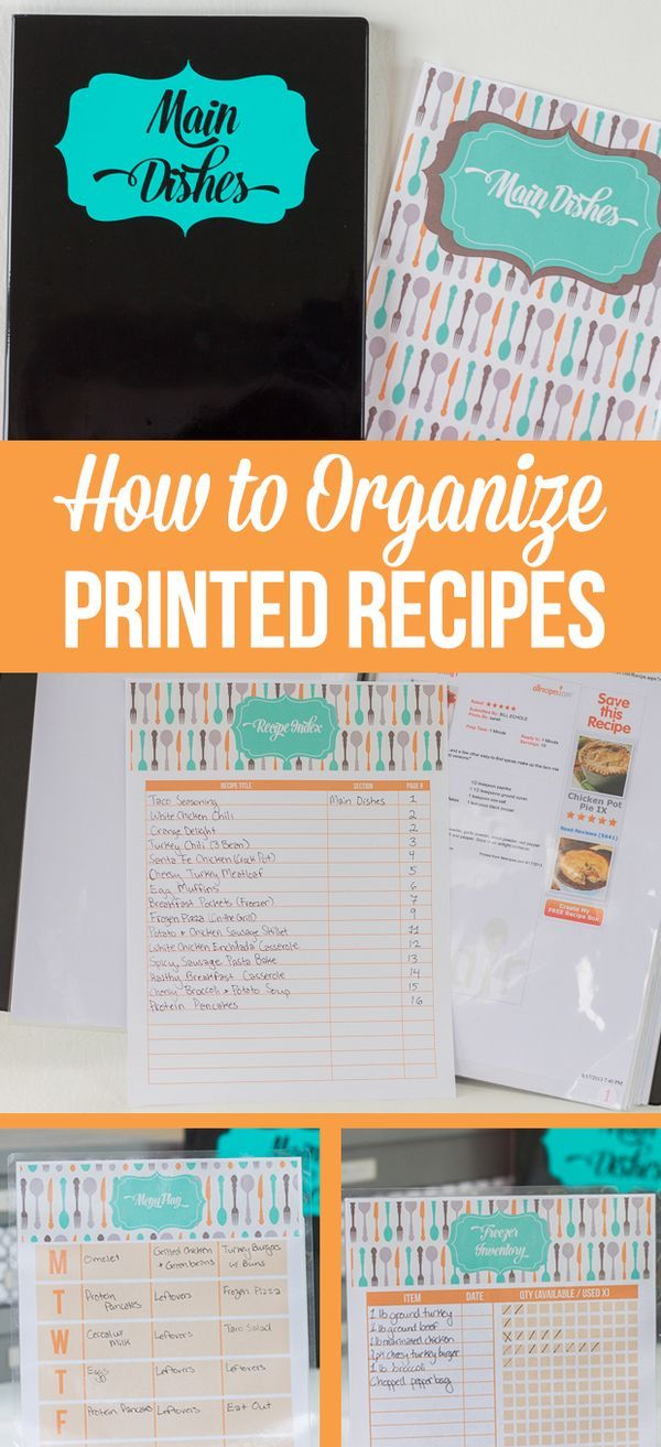 How to Organize Printed Recipes and a FREE printable menu planner