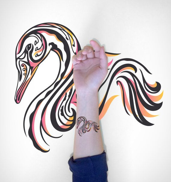 Swan Temporary Tattoo / Decorative Swan Temporary by EasternCloud