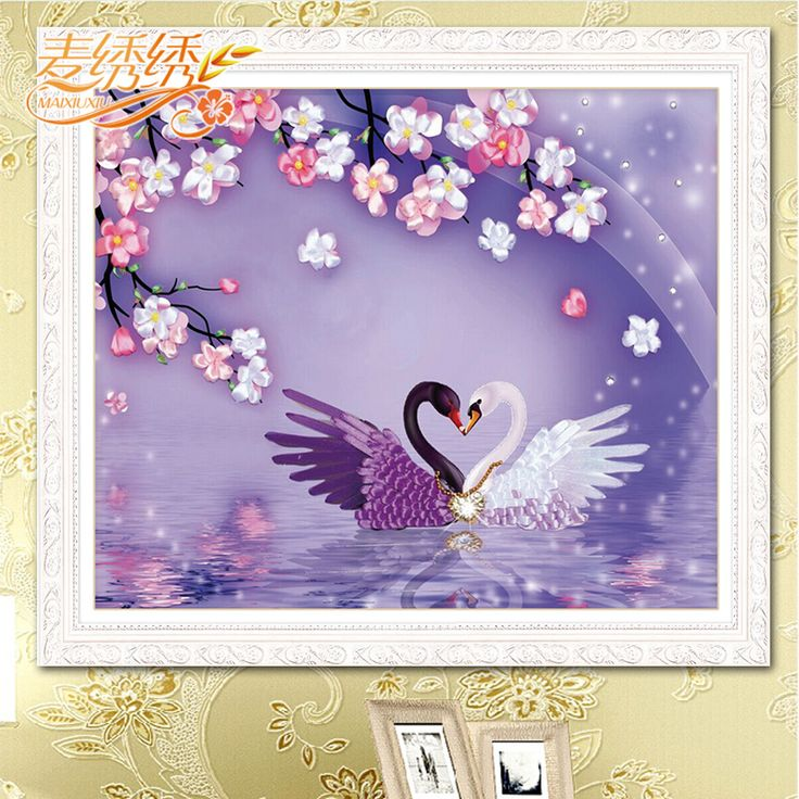 Love Swan Lake Purple 3D printing Ribbon Embroidery wedding room paintings Wedding Gift Non Cross Stitch set DIY Needleworks